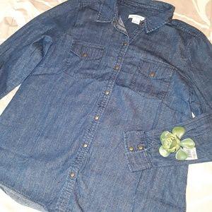 LIZ CLAIBORNE Button down jean shirt
